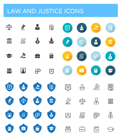 prison house: Law and Justice icons set Illustration