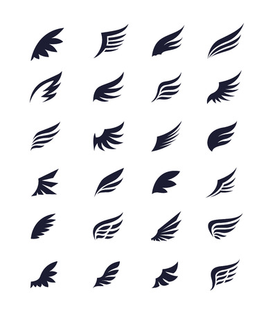Wings. Vector Set of wing design elements.