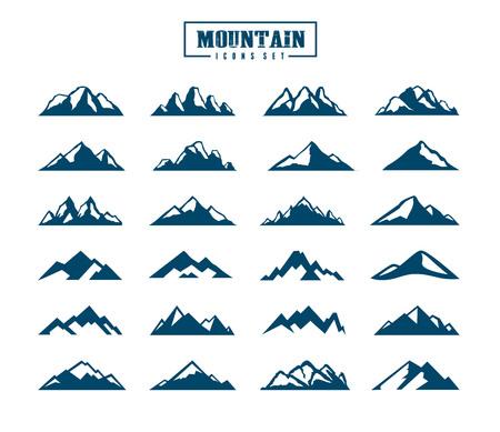 Conjunto de iconos de montaña. Ilustración vectorial