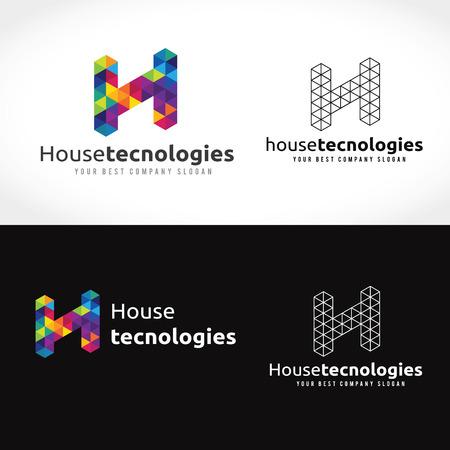 house logo: House Technology logo, H letter logo Illustration
