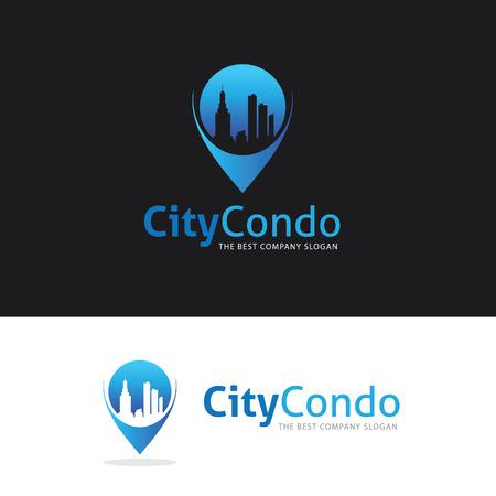 City Condo logo, building point logo, hotel logo
