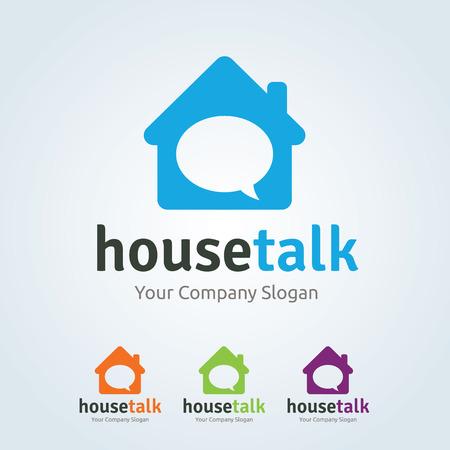 house logo: House talk logo, home logo, real estate logo