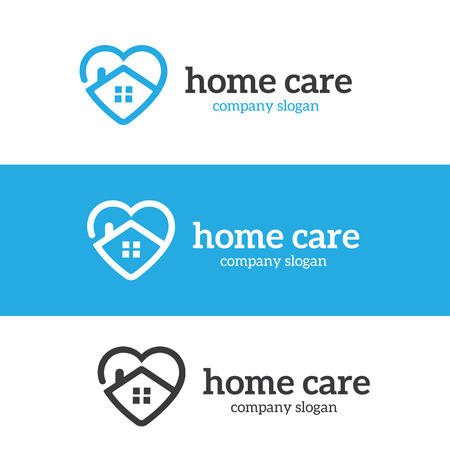 Home Care logo, love hoe logo template. Illustration