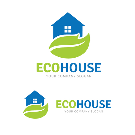 Eco house , green home logo, organic house logo template