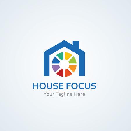 house logo: Home focus logo, real estate logo, house logo