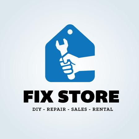 house logo: Fix store logo, house tools shopping logo