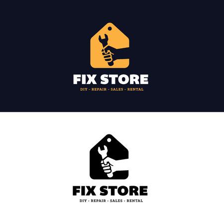 house logo: Fix Store Logo, house services logo, home shopping logo Illustration