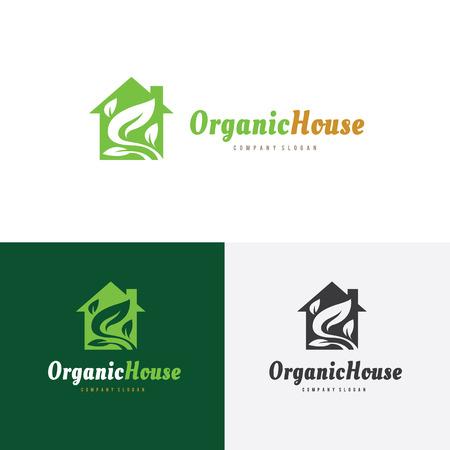 house logo: Organic house logo, green house logo, tree and garden logo template