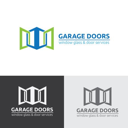 Logo della porta del garage, logo delle porte, logo dei servizi di garage Archivio Fotografico - 66464434