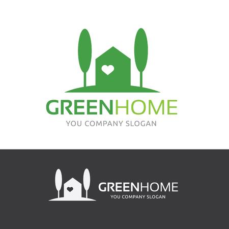 Green Home logo, real estate logo Logó