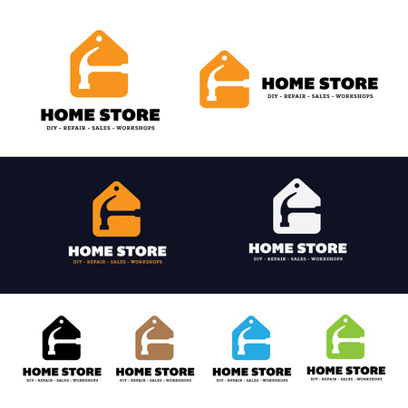 house logo: Home store logo, house fix services logo