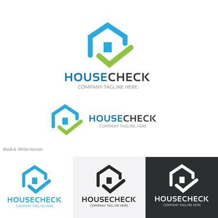 house logo: House check logo, home logo, real estate logo