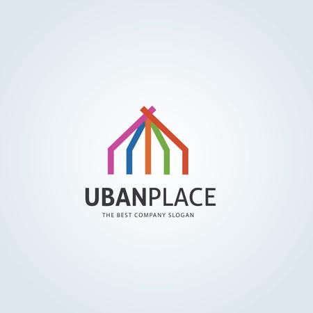 house logo: Uban place logo, real estate logo, house logo, home logo template.