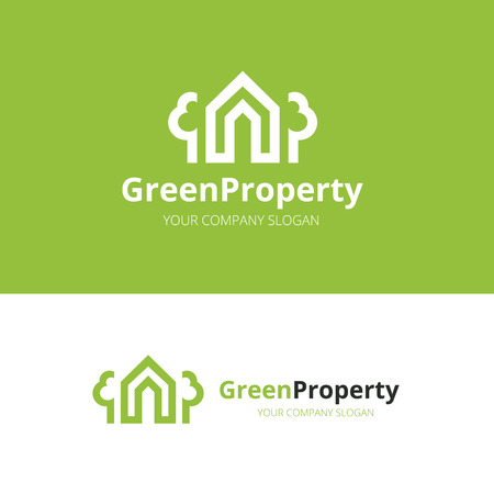 renter: Green property logo template.