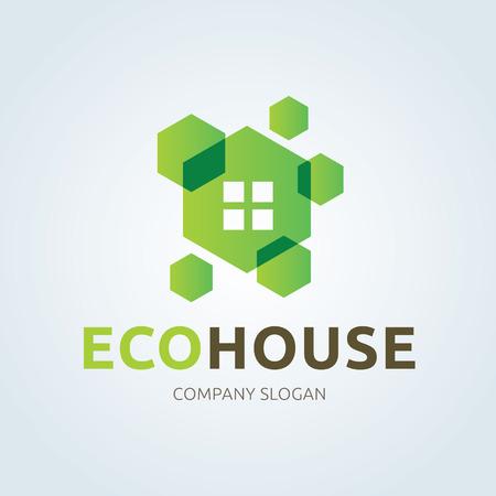 house logo: Eco house logo, home logo, green and eco logo template.
