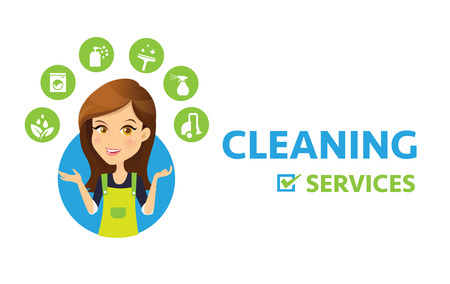 Cleaning service logo. Women Maid vector and cleaning services icon.