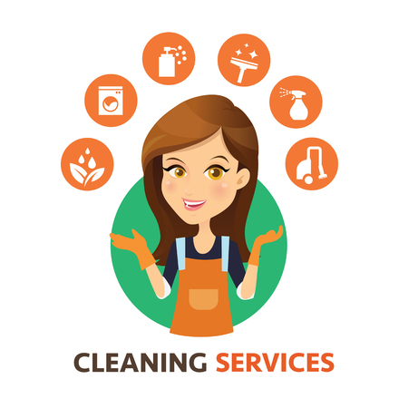 Sprzątanie logo. Kobiety Maid usługi sprzątania i wektorowe ikony. Logo