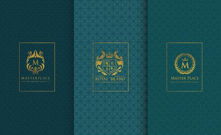 boutique hotel: colección de logotipo conjunto de lujo elemento de diseño de embalaje de productos boutique de fondo hotel ilustración vectorial identidad de marca.