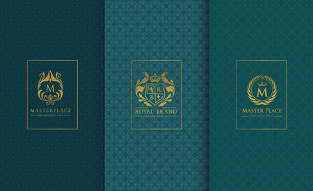 luxuries: logo collection set luxury design element packing product boutique hotel background brand identity vector illustration. Illustration