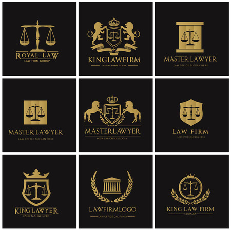 Law firm logo set Vettoriali