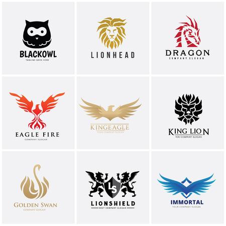 Animal logo set, Lion, owl , eagle, 向量圖像