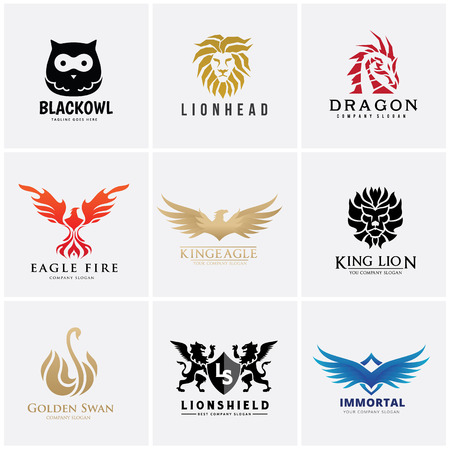 Animal logo set, Lion, owl , eagle, Illustration