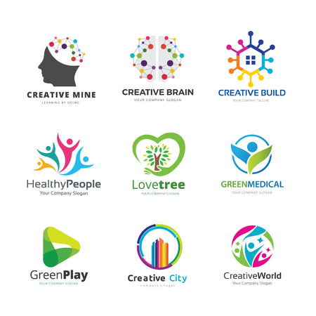 Brain and idea logo template collection Vectores