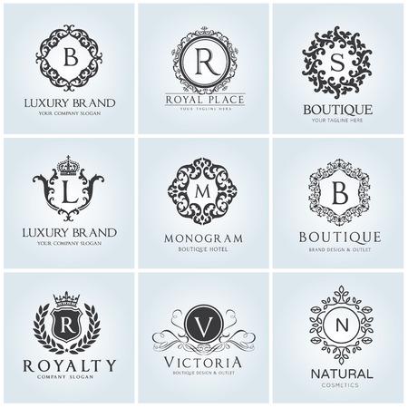 高級ロゴ設定ホテルとファッション ブランド ・ アイデンティティのためのデザイン