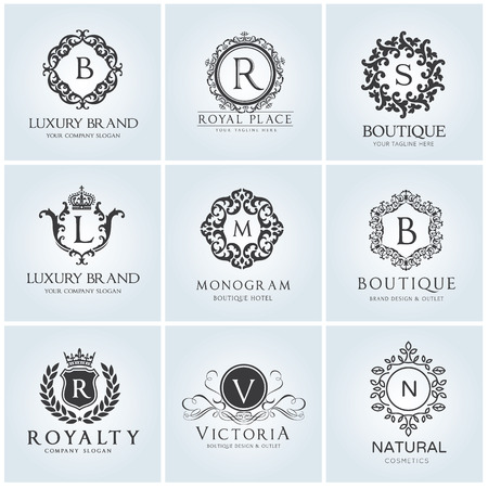 Luxury logo set design for hotel and fashion brand identity