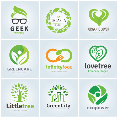 tree logo: Green food and tree logo collection