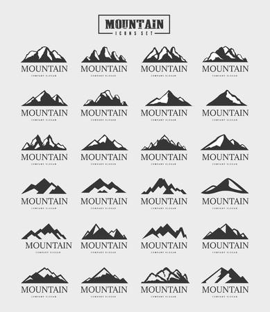 산 로고 컬렉션, 야외 및 모험 여행 로고 세트