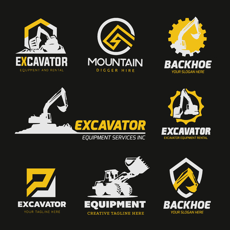 Excavator and backhoe logo collection