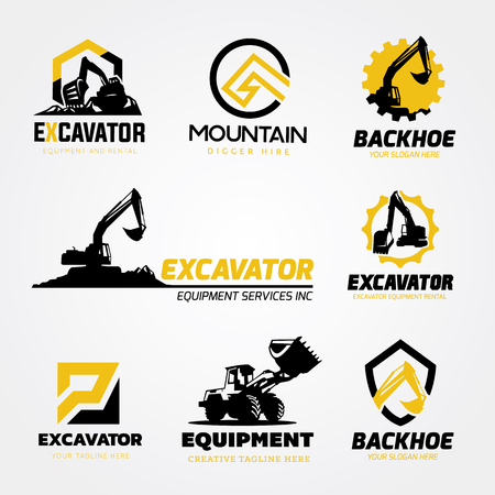 Excavator and backhoe logo collection Stock fotó - 81168598