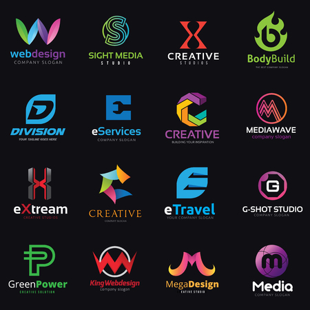 Letter logo design set vector 일러스트