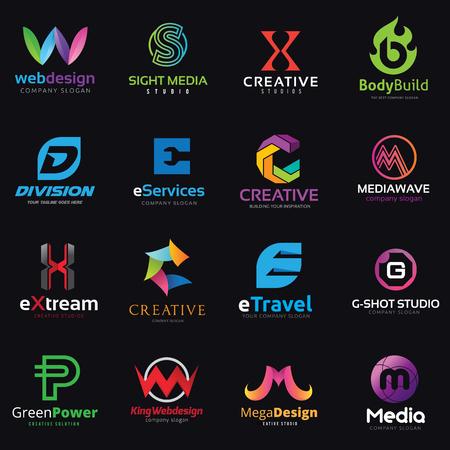 Letter logo design set vector Ilustracja