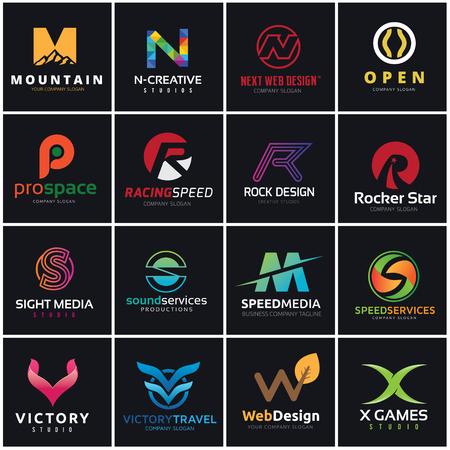 r p m: letter logo design collection