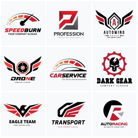 Set di auto e logo automobilistico