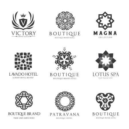 Victory boutique  hotel logo set Ilustracja