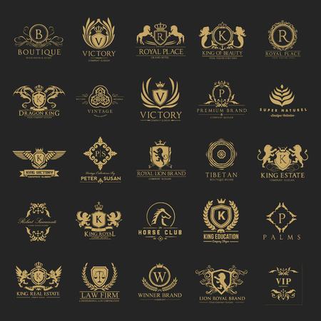 Luxe kammen en Hotel logo collectie Logo