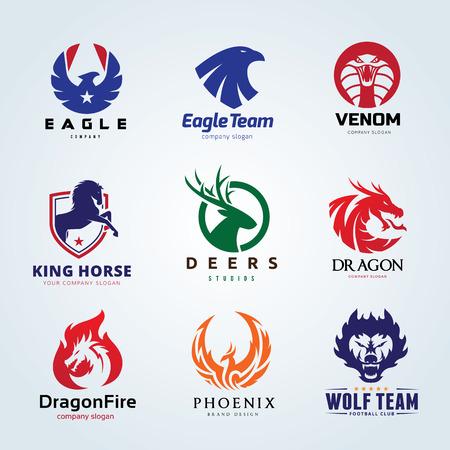 Animal logo set, leeuw logo, herten logo, vos en wolf logo, vogel en Phoenix logo sjabloon.