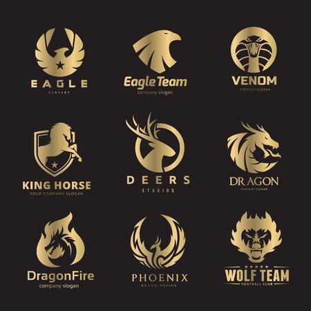 Conjunto animal de la insignia, logotipo del león, logotipo de los ciervos, logotipo del zorro y del lobo, modelo del logotipo del pájaro y del phoenix. Foto de archivo - 77308255