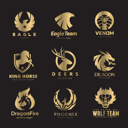 Animal logo set, lion logo, deer logo, fox and wolf logo, bird and phoenix logo template.