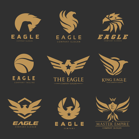 Eagle and bird logo set, Phoenix logo collection Ilustração