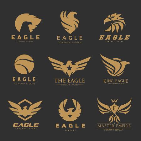Set di logo aquila e uccelli, collezione logo Phoenix Archivio Fotografico - 77308234