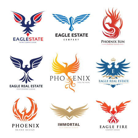 Eagle and bird logo set, Phoenix logo collection Stock Illustratie