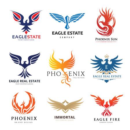 Eagle and bird logo set, Phoenix logo collection Illustration