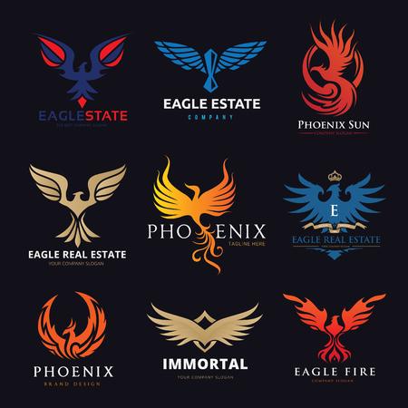 Eagle and bird logo set, Phoenix logo collection Vectores