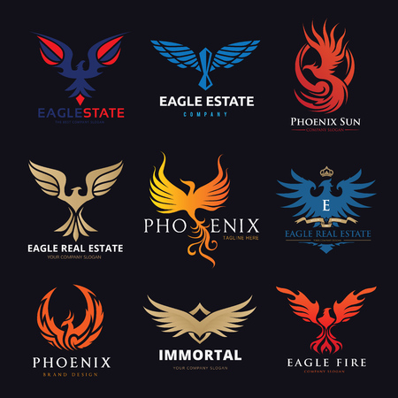 Eagle and bird logo set, Phoenix logo collection 矢量图像