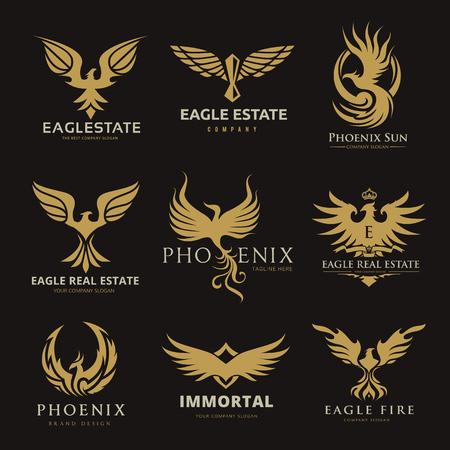 Set di logo aquila e uccelli, collezione logo Phoenix Archivio Fotografico - 77308226