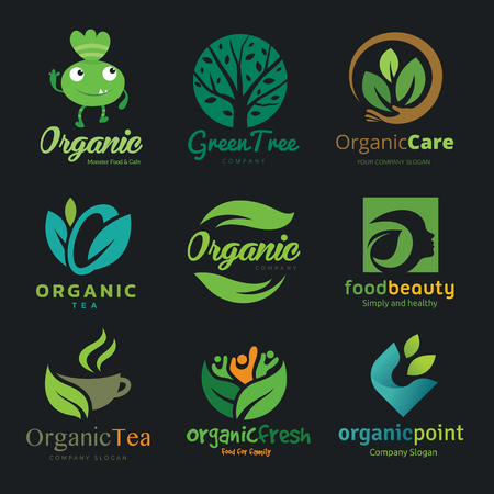 Logo collection of green organic food beauty tea vector logo template.